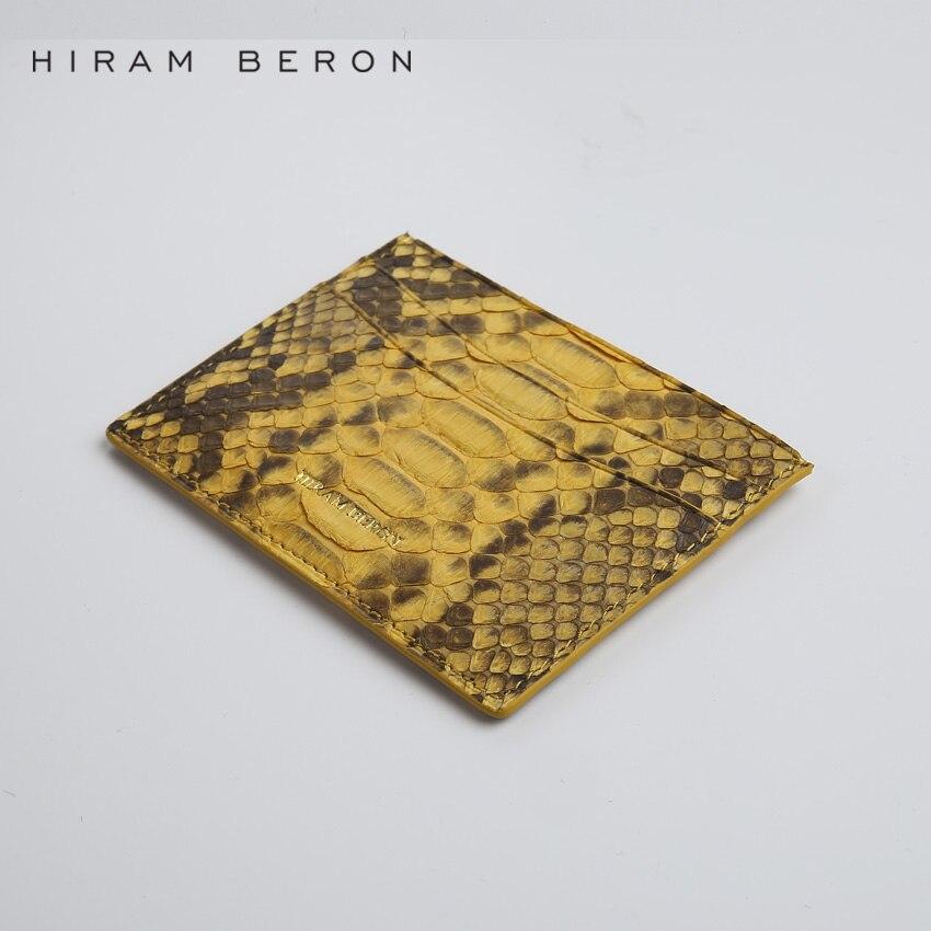 Hiram Beron Läder Kort Hållare Unisex Python & Lamb Skin Kreditkort - Plånböcker - Foto 5