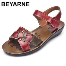 BEYARNE عادية جلد طبيعي الصنادل النساء صندل خشبي منصة أحذية الصيف السيدات Sandalias أحذية الشاطئ chausiras فام
