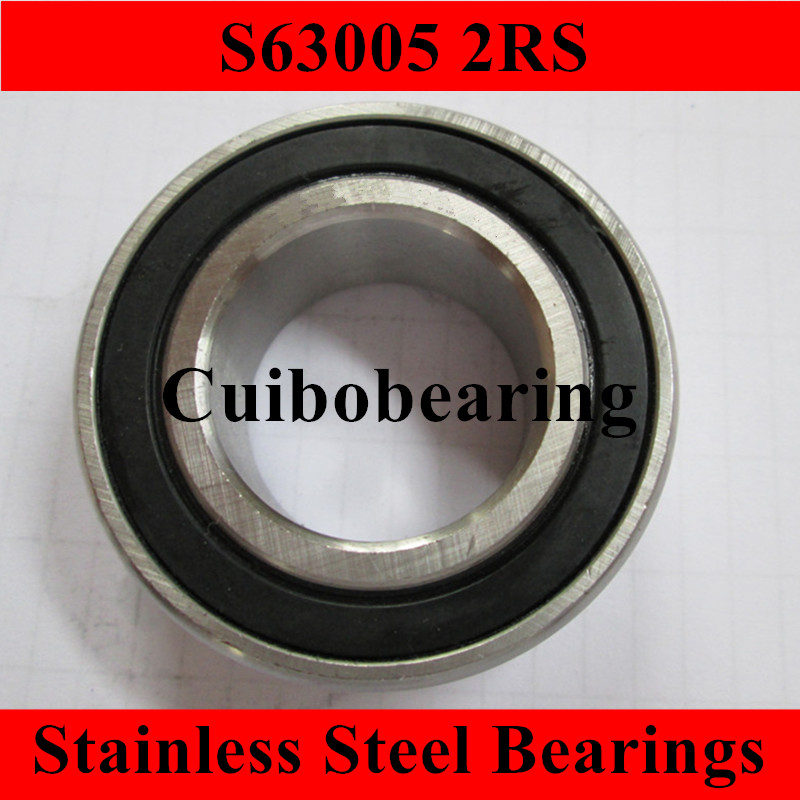 1PCS S63005 2RS Stainless Steel  Ball Bearings  size:25*47*16mm 4pcs excavator bearing 63005 2rs 63005 2rs 25 47 16mm 25x47x16mm double shielded deep ball bearings large breadth