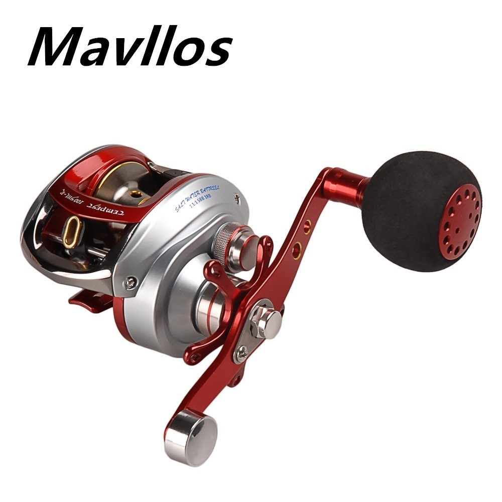 Mavllos Left Right Round Handle Baitcasting Reel Ratio 7.0:1 Saltwater Bait Casting Reel Centrifugal Brake System Fishing Reels new 12bb left right handle drum saltwater fishing reel baitcasting saltwater sea fishing reels bait casting cast drum wheel
