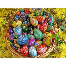Floral Easter Egg With Basket 5D DIY Full Diamond Painting Embroidery Drill Needlework Cross Craft Stitch Kit Home Decor