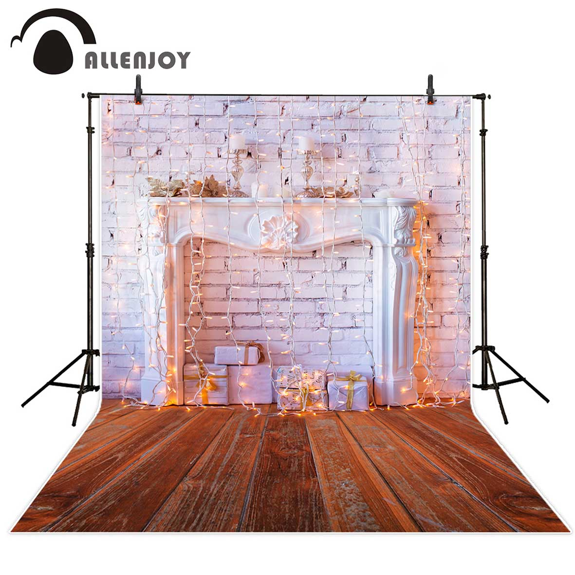 Allenjoy christmas photography backdrops Christmas background gifts white brick wall wooden floor bulbs table for baby for kids my apartment
