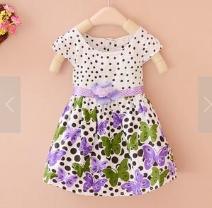Summer Girl Dress Kids Polka Dots Butterfly Princess One-piece Cotton Dress 2-4Y light pink white polka dots one piece petti dress with white posh feather malp27