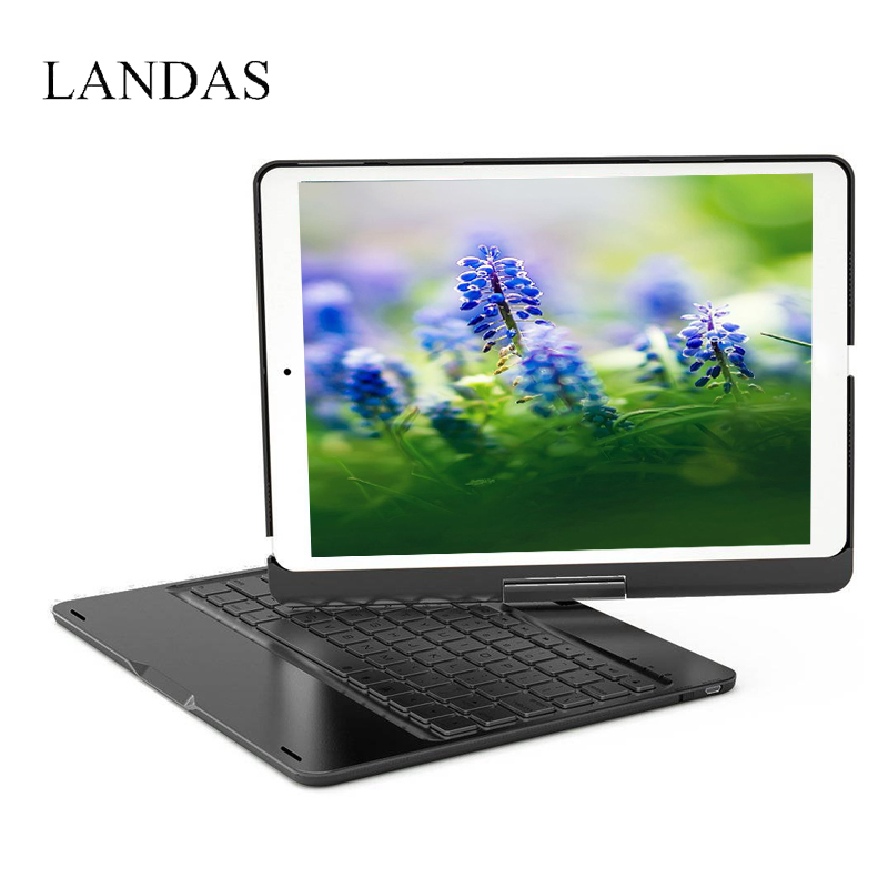 Landas For iPad 2018 Keyboard Case 360 Rotation 7 Backlit Bluetooth Wireless Keyboard For iPad 9.7 2018 Case Stand Cover A1893 detachable official removable original metal keyboard station stand case cover
