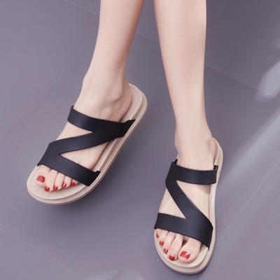 Ayakk.'ten Kadın Sandaletleri'de 2019 yeni moda kadın sandalet siyah boyutu büyük boy yaz flats'da  Grup 1