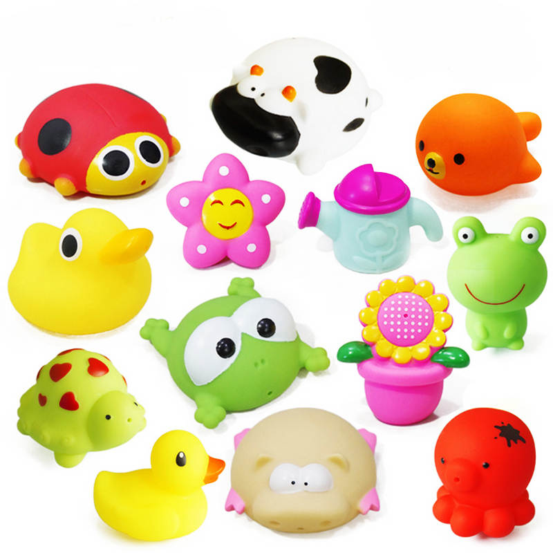 1Pc PVC Children Water Spray Bath Toys Squeeze Sound Playing Games Animal Soft Water Tools Baby Bathroom Educational Toys Gifts