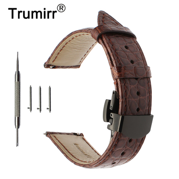 Genuine Alligator Leather Watchband 22mm for Vector Luna / Meridian Amazfit Quick Release Watch Band Steel Butterfly Clasp Strap