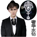 New Free Shipping fashion casual Men's male women collar groom wedding fashion luxury crystal diamond MC tie on sale