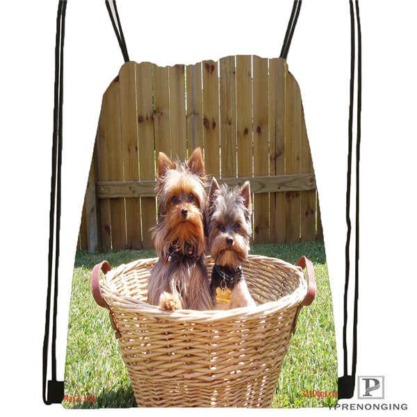 Custom Yorkshire-terrier-dog Drawstring Backpack Bag Cute Daypack Kids Satchel (Black Back) 31x40cm#180611-03-126