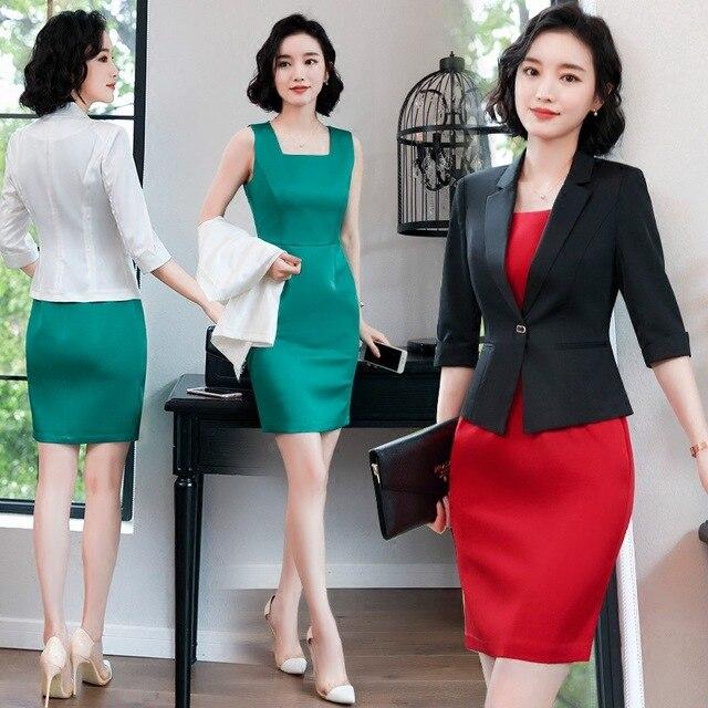 2018 Formal Elegant Female Women's Blazers Dresses Work Suits Ladies office Work Evening Dress Jacket business Costumes Suits