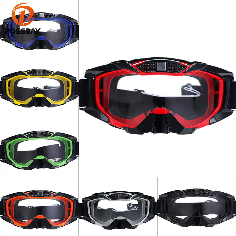 POSSBAY Motorcycle Goggles Snowboard Skiing Eyewear Glasses Fashion Ski Skate Googles Cafe Racer 7Colors Transparent Lens