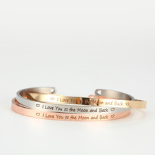 316L Stainless Steel Engraved i love you to the moon and back Inspirational Quote Cuff Bracelet Mantra Bracelet Bangle for Women mantra moon 1364