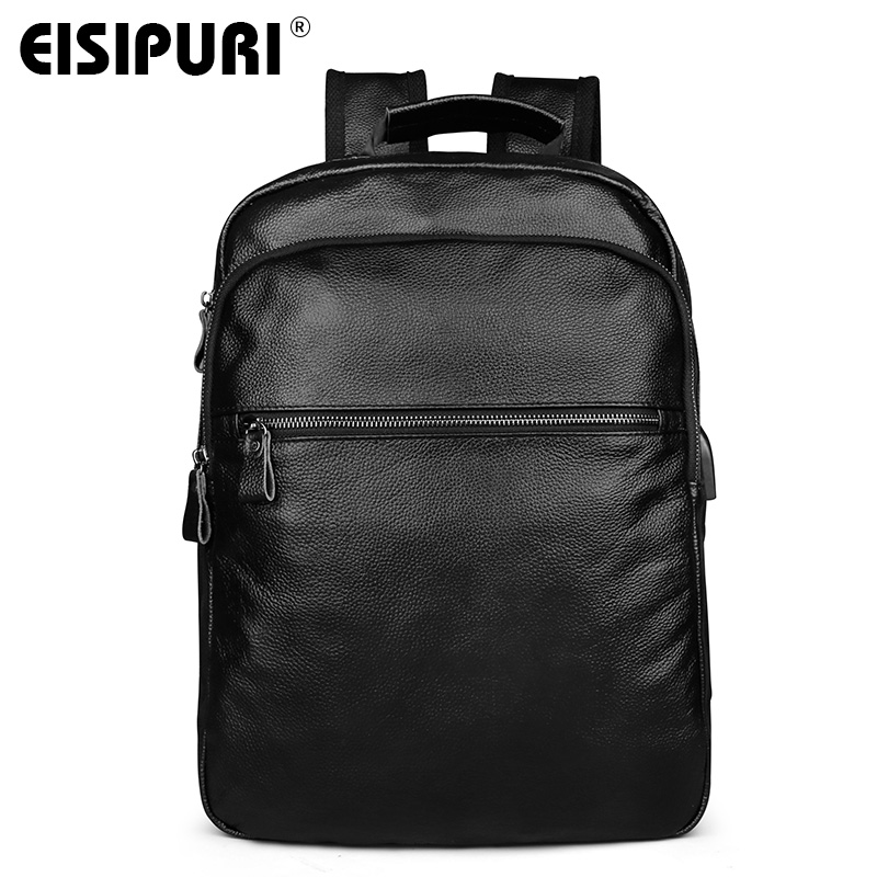 EISIPURI Fashion Men's Leather Backpack High Quality Genuine Leather School Bags for Teenagers Large Travel Laptop Backpacks kaka brand new unisex fashion school backpack for teenagers large capacity travel bags girls boys high quality laptop bags