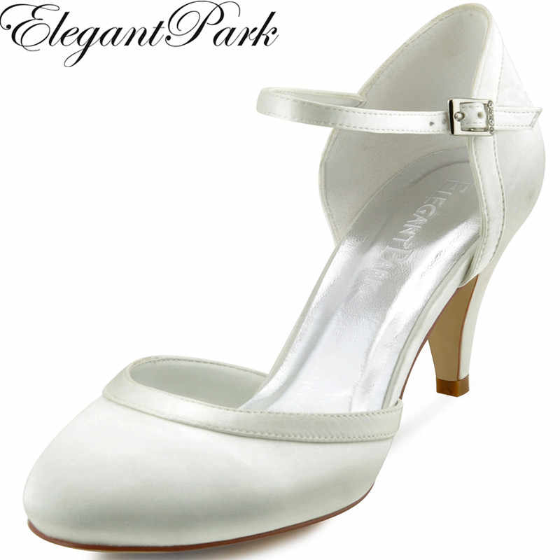 Women White Ivory Mid Heel Wedding Shoes Bride Comfort Closed Toe Buckle  Satin Ladies Bridesmaids Bridal faa65c6209f6