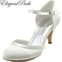 Mid 女性ホワイトアイボリーブライダル結婚式の靴快適 HC1509 ハイヒールサテン花嫁の女性の女性の靴バックル
