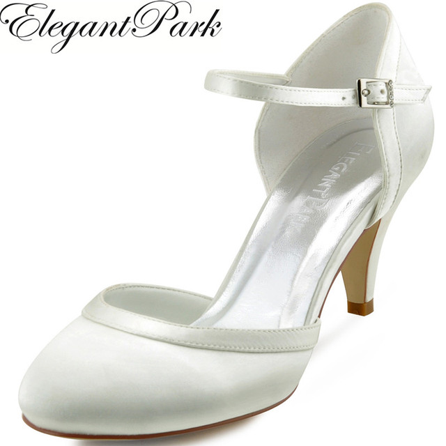 7aa1e55f3 Women White Ivory Mid Heel Wedding Shoes Bride Comfort Closed Toe Buckle  Satin Ladies Bridesmaids Bridal Prom Party Pumps HC1509
