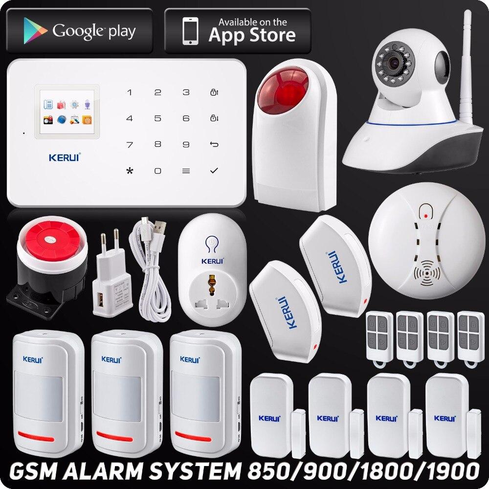 Kerui Беспроводная Проводная GSM домашняя охранная сигнализация l ISO Android приложение TFT сенсорная панель охранная сигнализация Wifi ip-камера
