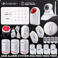 Kerui Беспроводная GSM домашняя охранная сигнализация ISO Android приложение TFT сенсорная панель охранная сигнализация Wifi ip камера датчик дыма