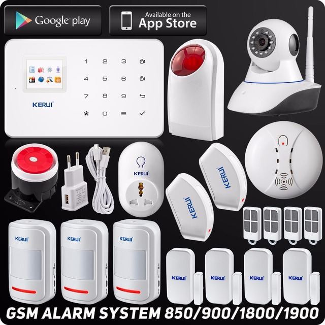 Special Offers Kerui Wireless Wired GSM Home Security Alarm System  l ISO Android APP TFT Touch Panel Security Alarm System Wifi IP Camera