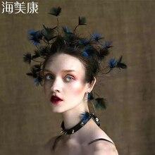 Haimeikang nowe barokowe pióra do włosów opaska stroik panna młoda paw Lupin Tiara dzikie Cheongsam świąteczne akcesoria do włosów