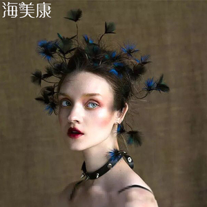 Image 1 - Haimeikang nowe barokowe pióra do włosów opaska stroik panna młoda paw Lupin Tiara dzikie Cheongsam świąteczne akcesoria do włosów