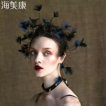 Женский обруч для волос Haimeikang, повязка на голову с перьями в стиле барокко, тиара с павлином, аксессуар для волос