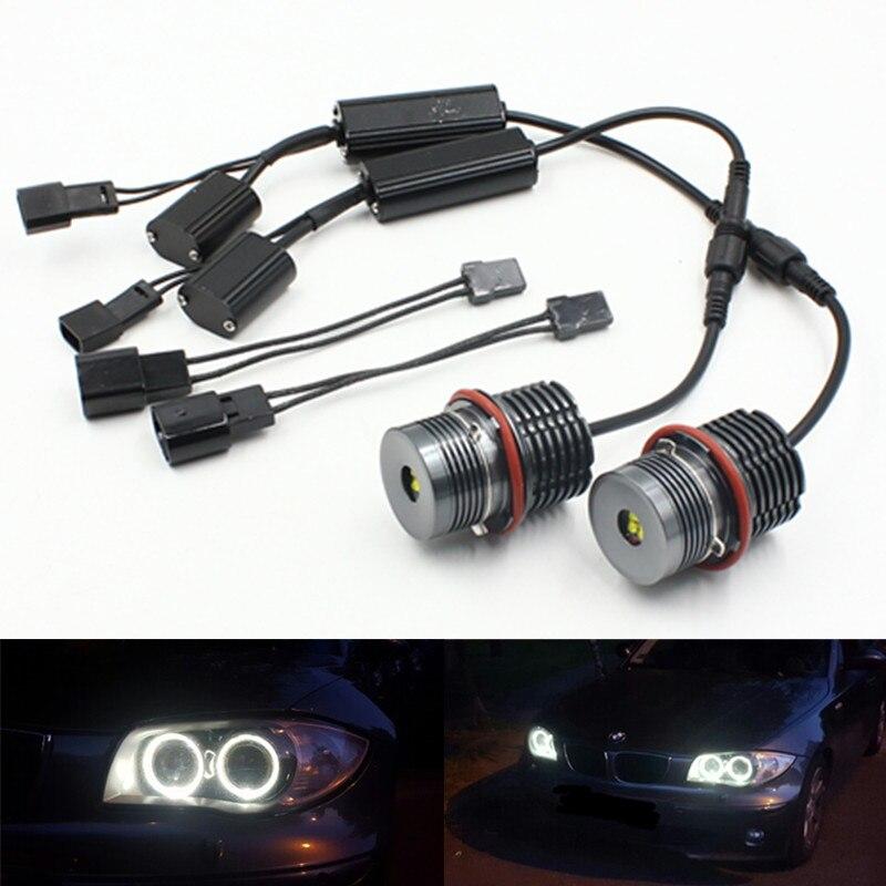 Car Angel Eyes Kit Canbus LED Marker White Light 12V 6W for BMW E39 E65 E63 E87