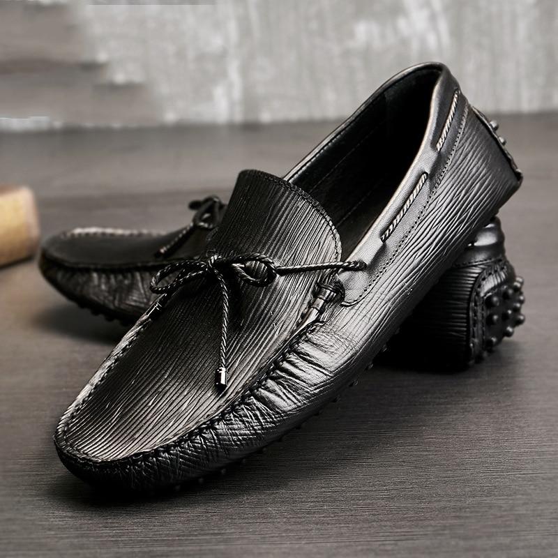 Casuais Preto Shoesmen De Primavera Preguiçosos Negócios Genuíno Vestido Mocassins Sapatos Homens Condução Couro 6aET7