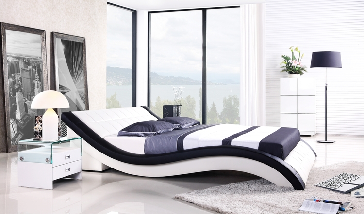 leather bed new modern design top grain leather king queen size soft bed