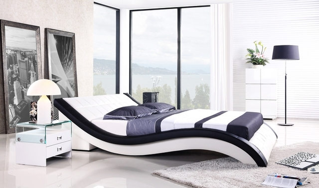 Leather Bed New Modern Design, Top Grain Leather, King / Queen Size ...