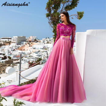 New Listed 2019 Hot Pink Lace Long Sleeves Two Piece Prom Dresses A-line Sequin Appliques Tulle Long Formal Party Evening Gown