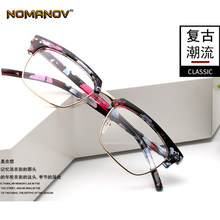 Fashion Plate Retro Square Frame Custom Made Prescription Optical Lenses or Photochromic Gray / Brown Lenses 0 -0.5 -1 To -6(China)