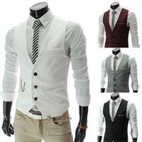 Autumn men's V neck vest Business formal vest vest fashion simple solid color men's suit vest