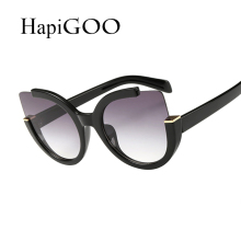 HapiGoo New Fashion Cat Eye Sunglasses Women Brand Designer Vintage Flash Color Mirrored Lens Colorful Sunnies Oculos Feminino
