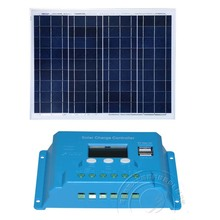 Portable Solar System Panel 12v 50w Charge Controller 12v/24v 10A PWM LCD Phone Charger Light LED Lamp