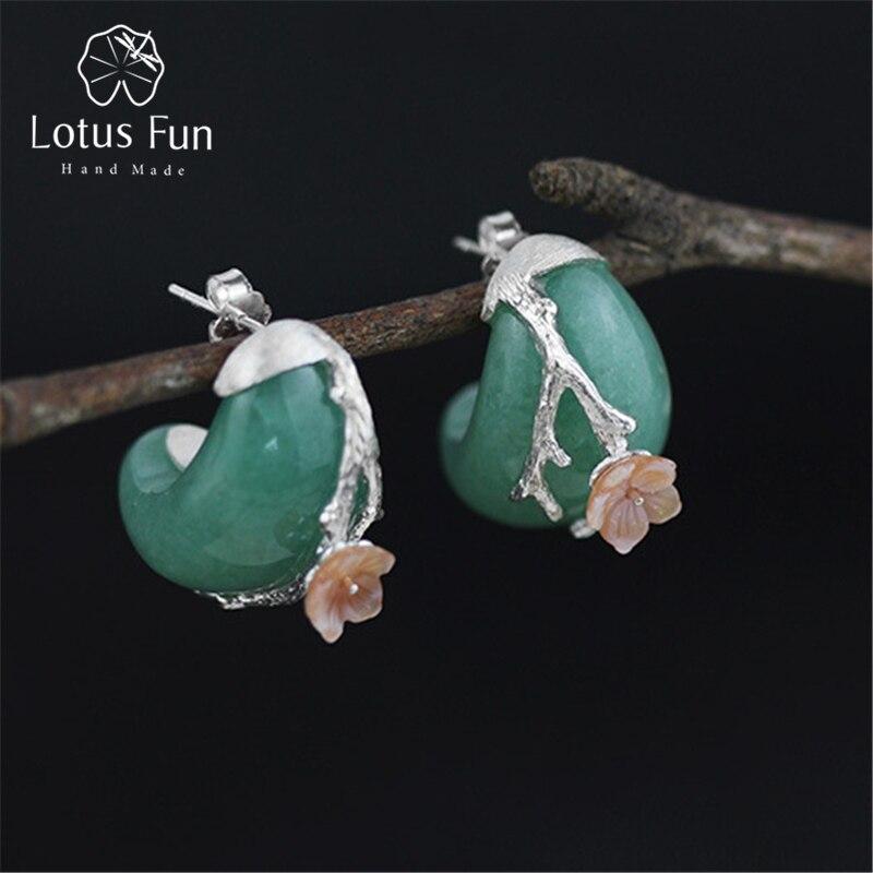Lotus Fun Real 925 Sterling Silver Natural Stone Creative Handmade Fine Jewelry Vintage Plum Flower Stud Earrings for Women цена