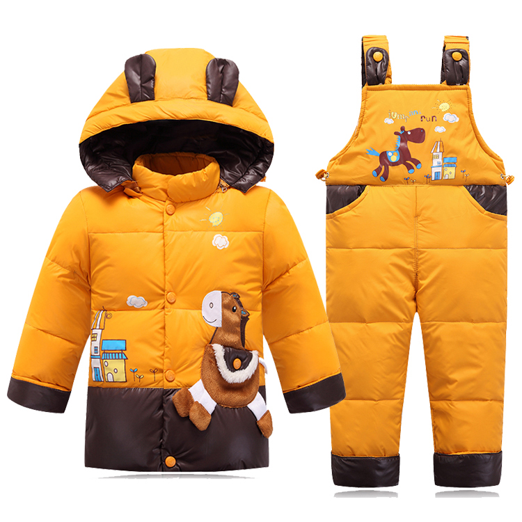 Children Girls Wither Down Set Baby'S Suit Jacket Outdoor Clothes Down Set Kids Baby Two-Piece Baby Warming Coat Thick Clothing