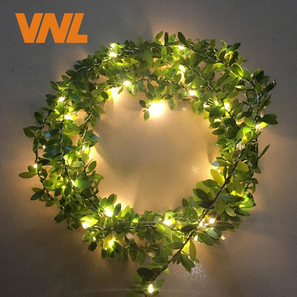 VNL Waterproof Handmade 5M 50 LEDs Leaf Garland Battery Operate Copper LED Fairy String Lights For Christmas Wedding Decoration