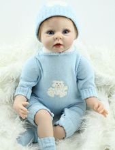 22inch Vinyl Reborn Baby Blue Eyes Real Lifelike Girl Doll Collectible Toy Women Treats