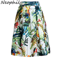 Neophil 2016 Fashion Hot Tropical Floral Print High Waist Fluffy Pleated Saias Flare Satin Tutu Midi Skater Skirts Womens S07047