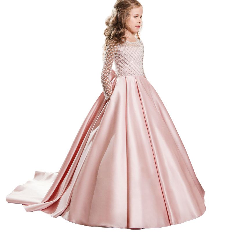 2019 Newest Sequins Hollow First Communion Dresses For Girls Tulle Satin Elegant Teenager Flower Girl Dresses For Weddings Party