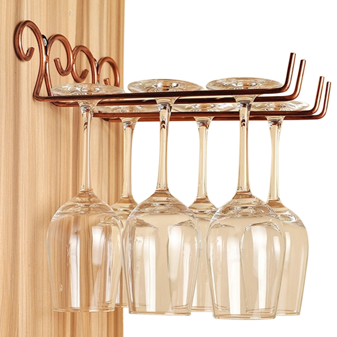 2 Rows Stainless Steel Side Stand Wine Gl Hanger Rack Cup Holder Shelf Bronze In Storage Holders Racks From Home Garden On Aliexpress