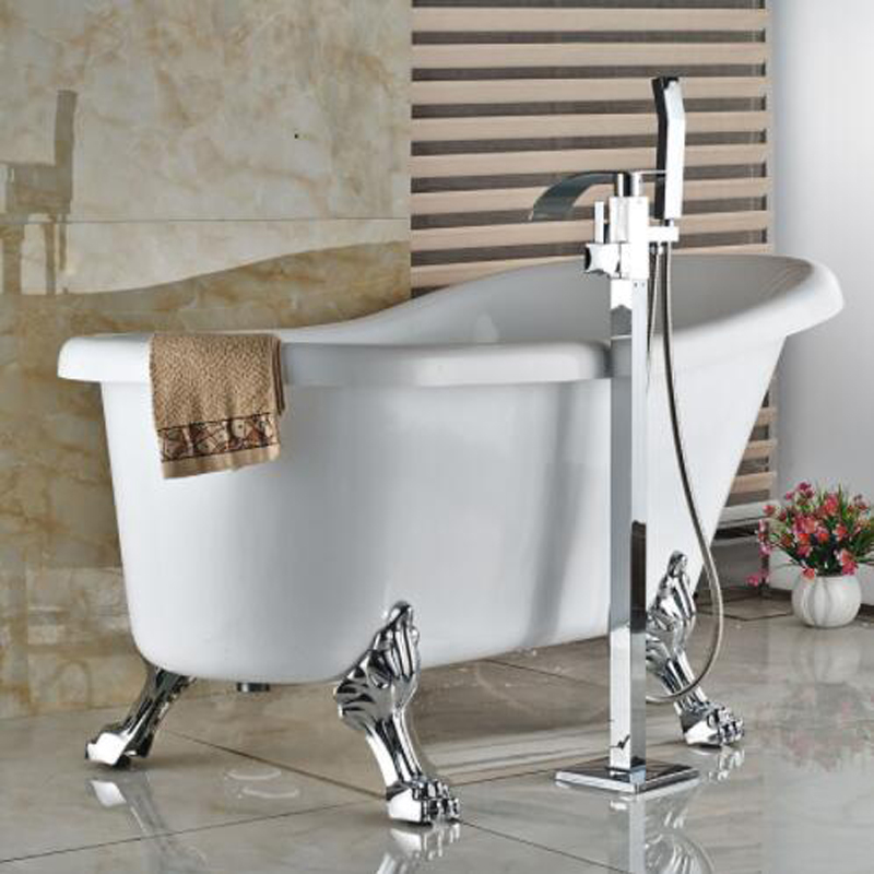 poiqihy chrome finished free standing waterfall tub filler tub faucet mixer tap with handheld sprayer in bathtub faucets from home improvement on