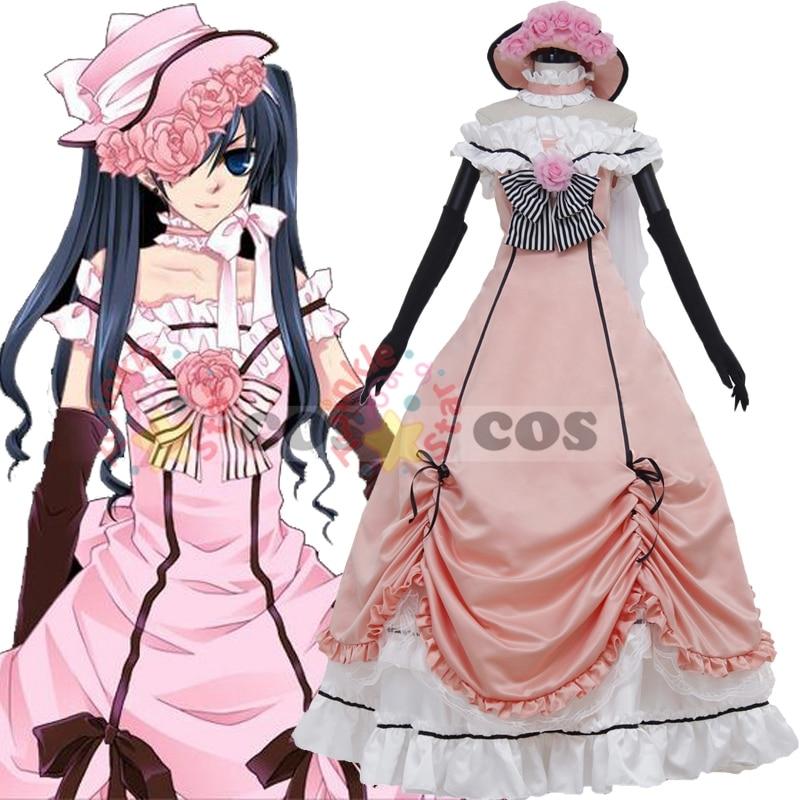 Hot Anime black butler Cosplay costume Halloween costume women black butler Ciel Phantomhiv cosplay costume Ciel dress halloween cosplay skeleton style costume black