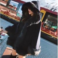 New Imitation Fox Fur Woolen Coat Winter Women Batwing Sleeve Hooded Shawl Cape Coat Female Loose Cloak Overcoat