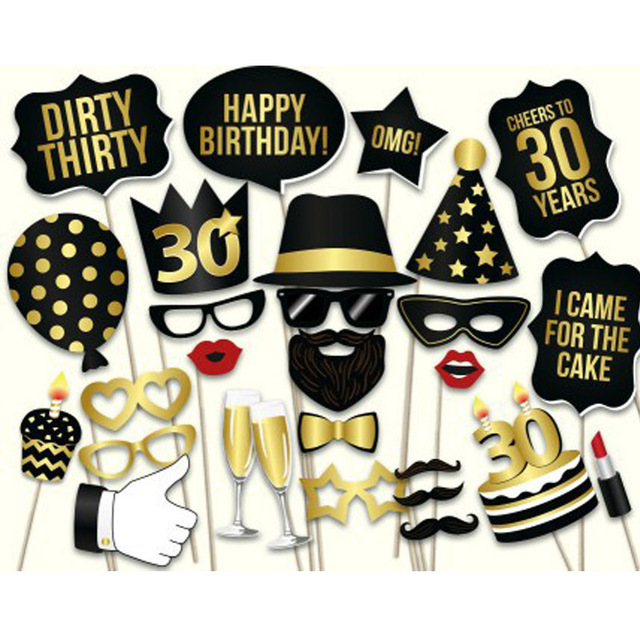 Photo Props Adult 30th Birthday Man Woman Style Moustache Paperboard 30 Years Old Celebration Party