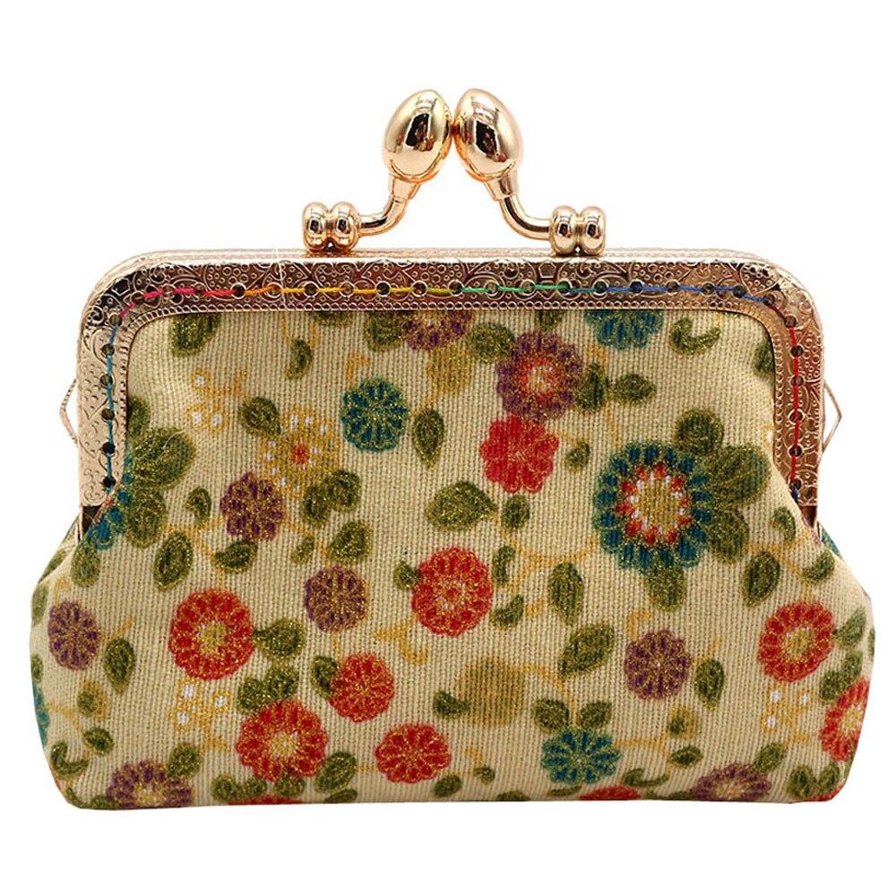 Vintage Hasp Coin Purse Women Cotton Fabirc Small Wallet Lady Printing Flower Clutch Retro Bag bolsas feminina Drop Shipping
