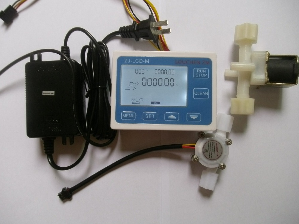 2017 Free shipping G1/4 Water Flow Control LCD Display+Flow Sensor +Power Adapter +Solenoid valve