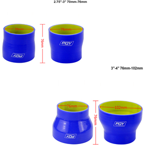 """Image 5 - BLUE & Yellow 2"""" 2.5 2 3 2.48 2.75 2.48 3 2.75 3 3 4 SILICONE HOSE STRAIGHT REDUCER JOINER COUPLING"""