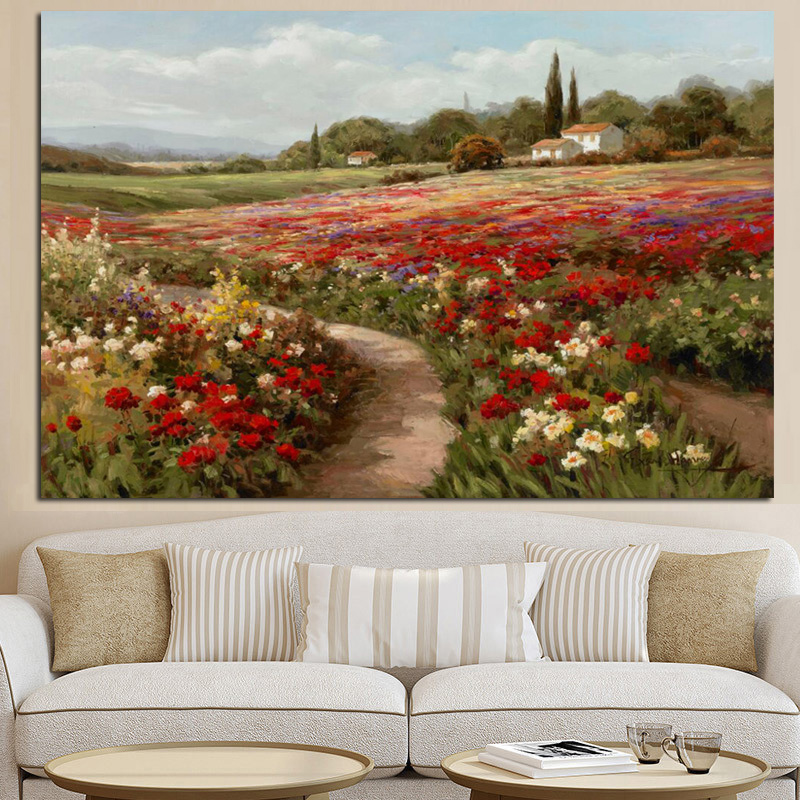 Claude Monet Poplars Poppy fields Impressionist Landscape Oil Painting on Canvas Posters and Prints Wall Picture for Living Room